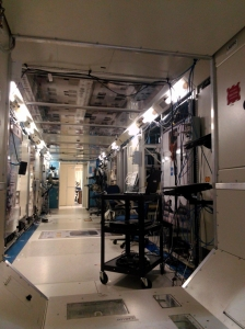 "The mocked up ISS Lab. Everything works in here for astronauts to train. Check out the ""floor"" and ""ceiling"" which have spaces for experiments."
