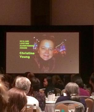 Slide from Christine Young's Lifetime Achievement Award